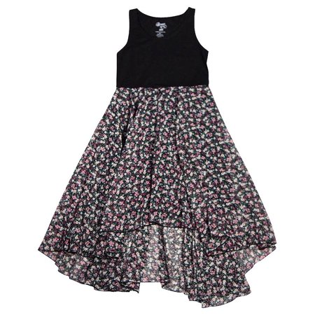 Flowers by Zoe - Big Girls Sleeveless Floral Dress - 4 Colors - 30 Day Guarantee Black Floral / 12