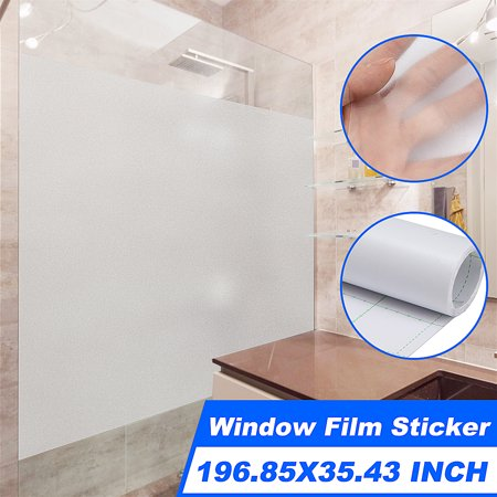 Window Glass Film Sticker Frosted Window Film Self Static Cling For Home & Office - Waterproof & Removable 196.85x35.43