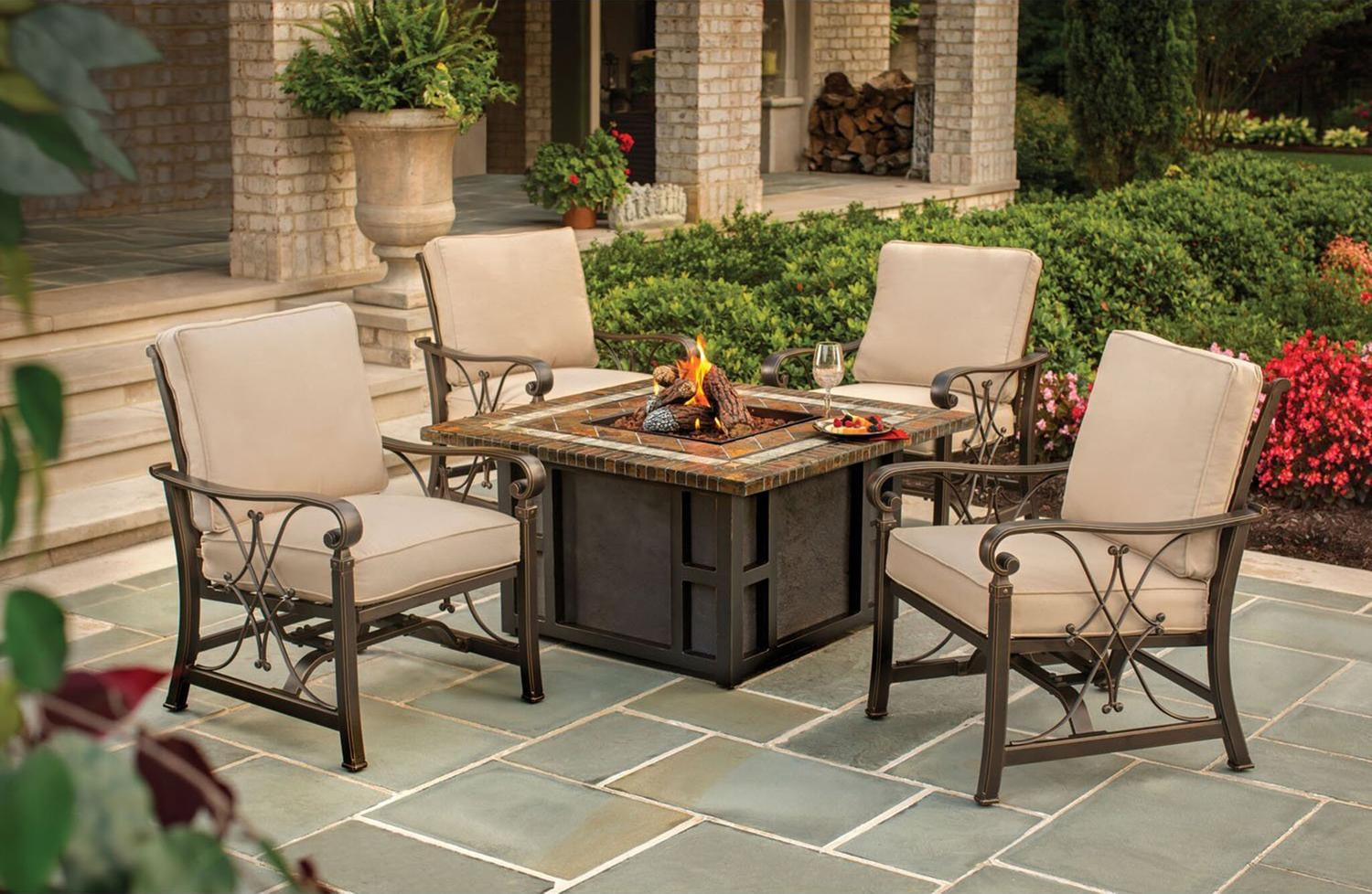 7 Piece Goldie Slate Gas Fire Pit Aluminum Rocking Chair Outdoor Patio Chat  Set