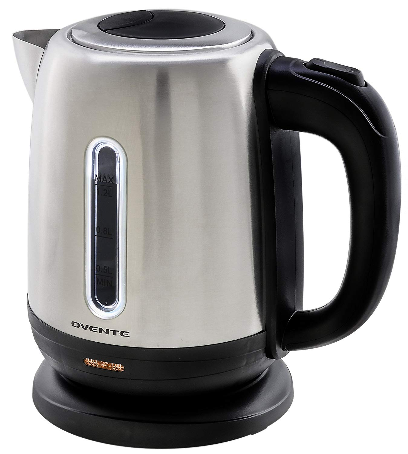 Ovente Stainless Steel Electric Tea Kettle Cordless with Concealed Heating Element, Auto Shut Off and Boil-Dry Protection, Small 1.2 Liter, Brushed (KS22S)