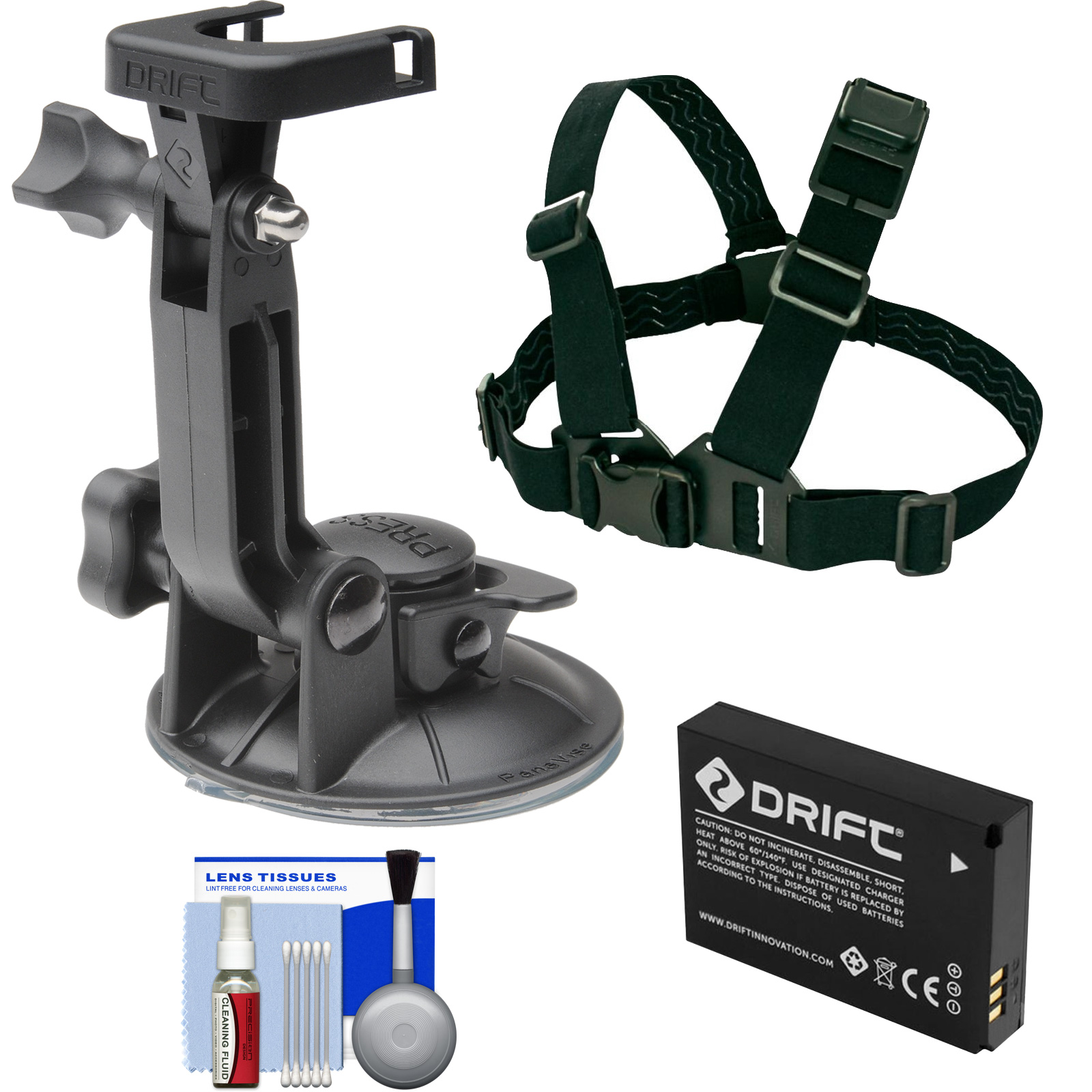 Drift Innovation Suction Cup Mount with Shoulder Mount + Battery + Accessory Kit HD Ghost & Ghost-S Action Camcorders