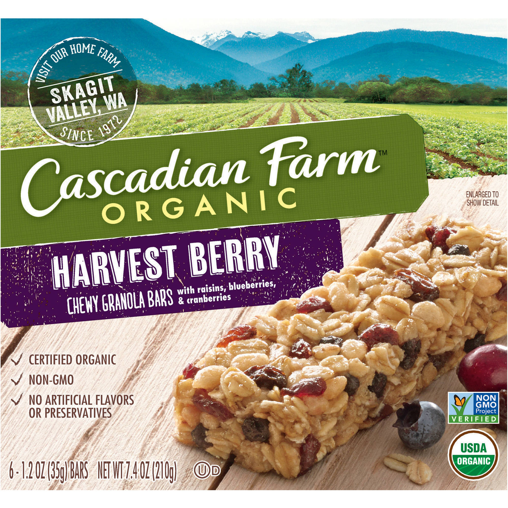 Cascadian Farm Organic Harvest Berry Chewy Granola Bars, 1.2 oz, 6 count