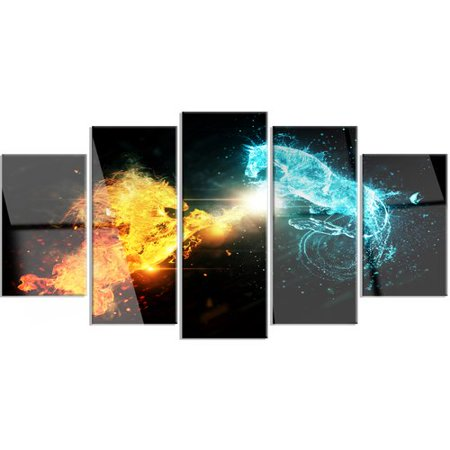 Design Art 'Fire and Water Abstract Horses' 5 Piece Graphic Art on Metal Set ()