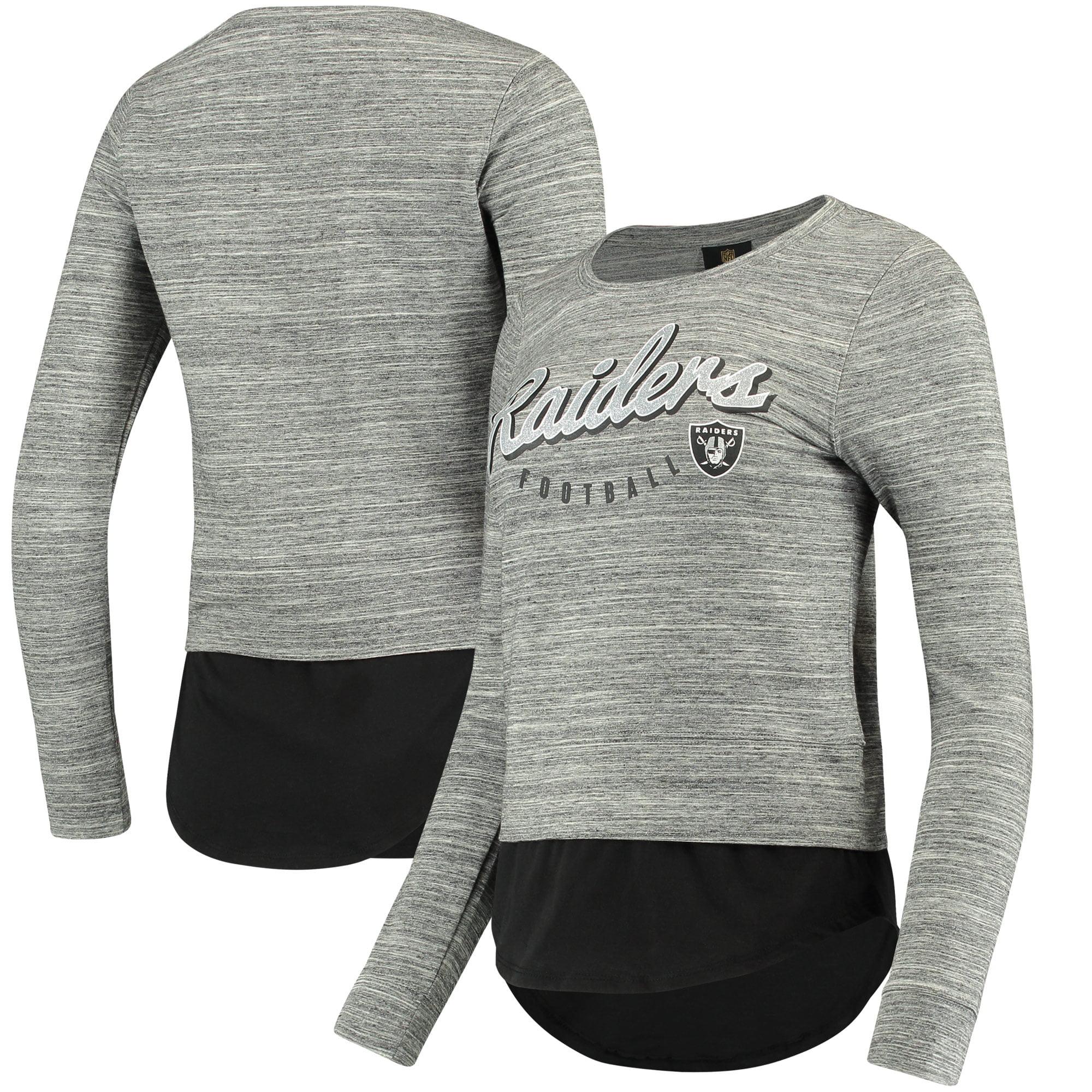 Oakland Raiders Women's Juniors Shirt Tail Layered Long Sleeve T-Shirt - Heathered Gray/Black
