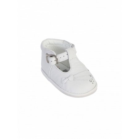 Little Girls White T-Strap Buckle Leather Baptism Dress Shoes