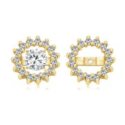 Cubic Zirconia CZ Round Removable Pave Halo Earrings Jackets for Studs Jacket Only for Women 14K Gold Plated 925 Sterling Silver Pink Black Blue Clear