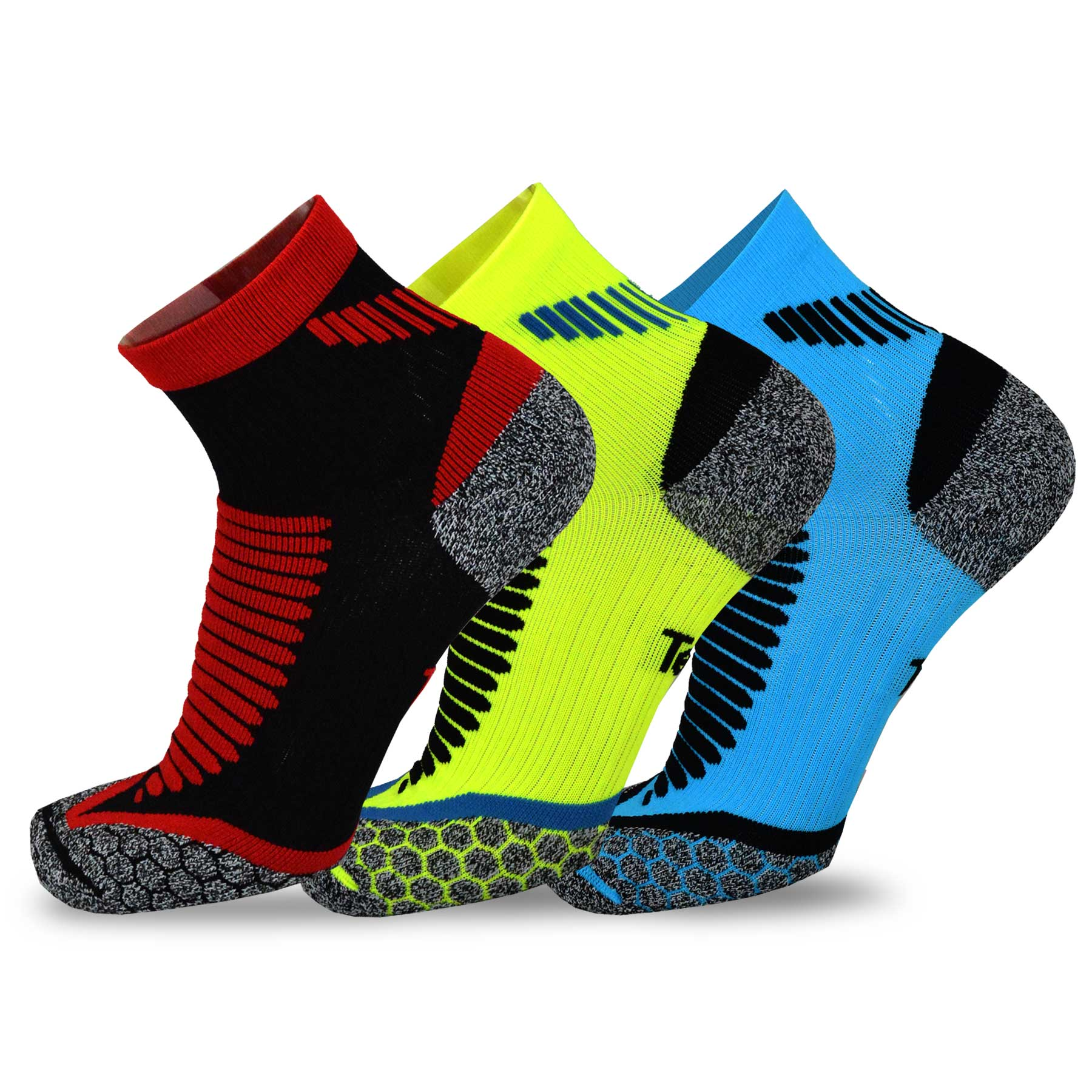 TeeHee Athletic Compression Cushioned 3-Pack Quarter Crew Socks, Size 9-11