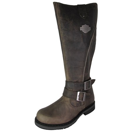 3d917f67f9d1 Harley Davidson - Harley Davidson Womens Sennett Tall Distressed Leather  Boot Shoes - Walmart.com