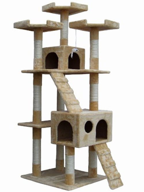 72 Inch Beige Cat Tree Lounge Tower Kitty Condo with Scratching Posts by Omni