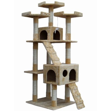 72 Inch Beige Cat Tree Lounge Tower Kitty Condo with Scratching (72 Inch Lounger)