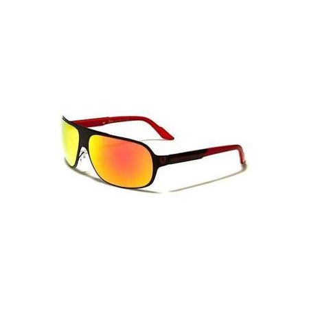 Full Metal Frame Mens Fire Lens Wrap Around Sport Cycling Baseball Sunglasses