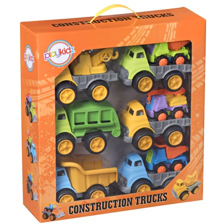 Playkidz Construction Trucks  Bulk Pack of [9] Go Cunstruction for Boys & Girls  Assorted  Vehicles for Home, School, Party, Toddler Birthday & More  Recommended Ages