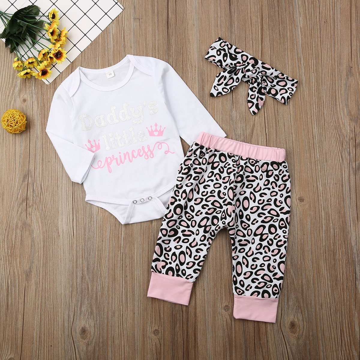 Baby boy Outfits,Finess Toddler Infant Baby Print Long Sleeves Romper+Pants+Headband Kids Clothes Outfits 3 Sets