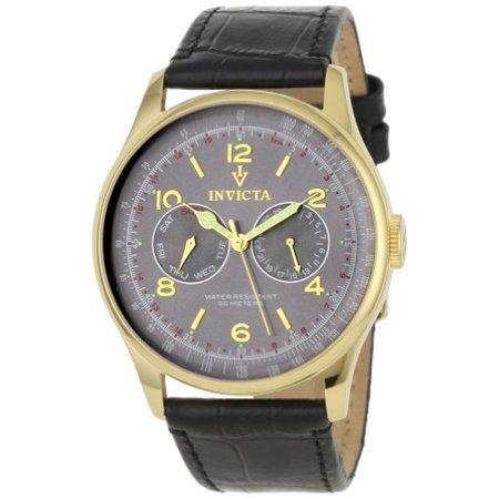 Invicta Men's 6751 Vintage Collection Taupe Sunray Dial Black Leather Watch