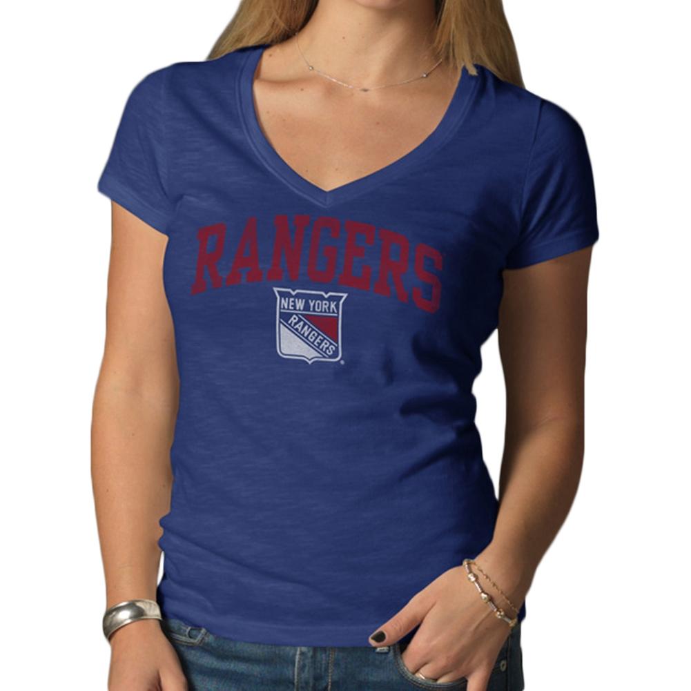 New York Rangers Logo Scrum Premium Juniors V-Neck T-Shirt by