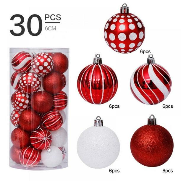 30Pcs Christmas Tree Shatterproof Hanging Balls Ornaments Xmas Party Decor 6cm