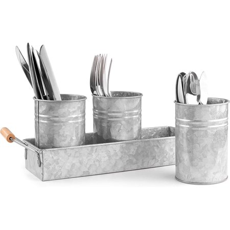 Image of Royalty Art Galvanized Planter Buckets and Rectangular Pot Base for Succulents, Herbs, and Small Plants, Vintage Farmhouse Galvanized Steel, Wooden Carry Handles