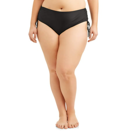 Brief Bottom Womens Swimsuit - Time and Tru Women's Plus-Size Core Ruched Brief Swimsuit Bottom
