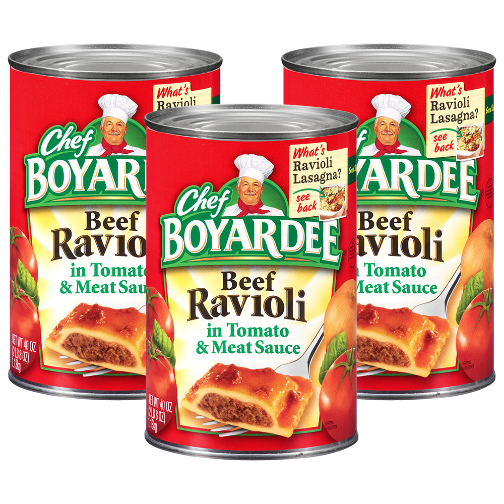 (3 Pack) Chef Boyardee Beef Ravioli, 40 oz