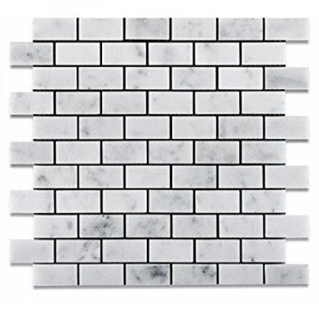 1 X 2 Carrara White Marble Honed Brick Mosaic Tile - 6 X 6 Sample