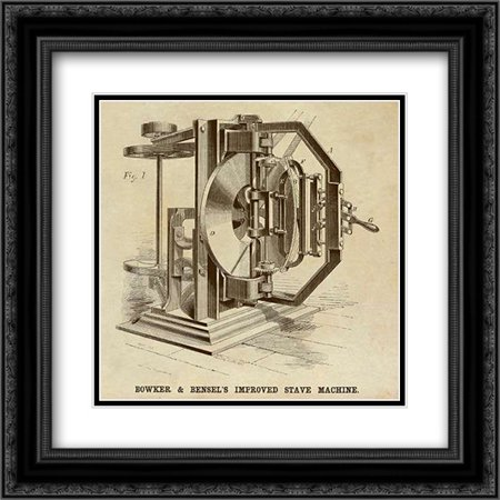 Bowker and Bensels Improved Stave Machine 2x Matted 20x20 Black Ornate Framed Art Print by Inventions