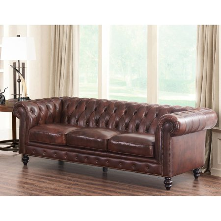 Abbyson Grand Chesterfield Brown Top Grain Leather (Top Full Grain Leather Sofa)