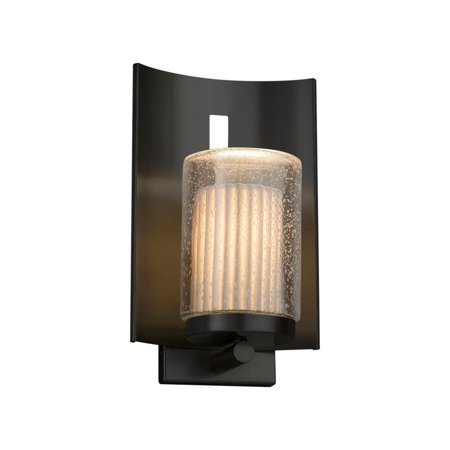 Justice Design  Group Limoges Embark 1-light Matte Black Outdoor Wall Sconce, Pleats Cylinder - Flat Rim Shade
