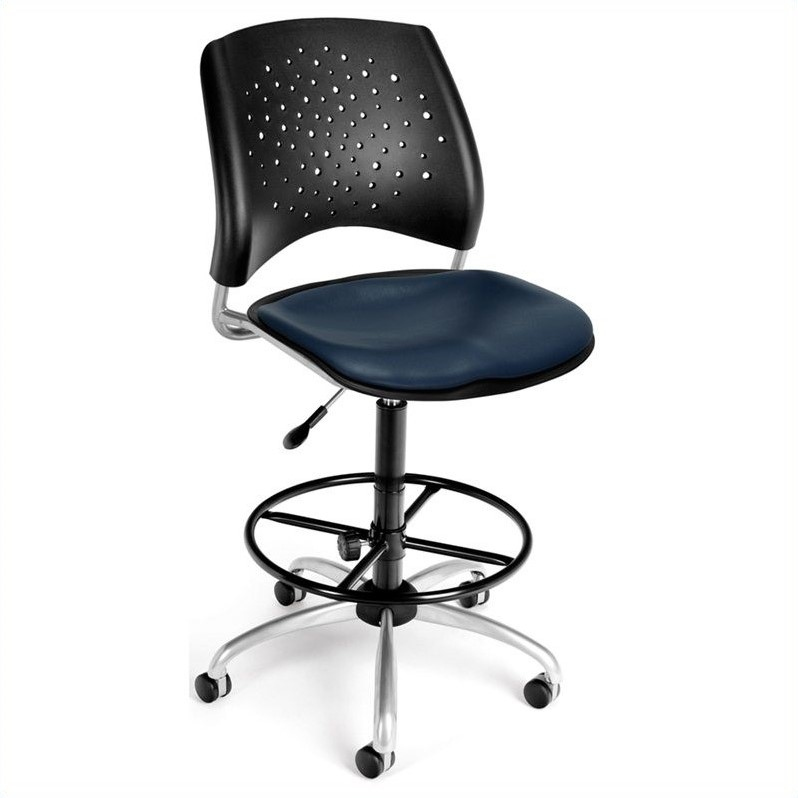 Scranton & Co Swivel Drafting Chair with Vinyl Seats in Navy