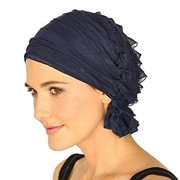 Stay Beautiful Women Chiffon Ruffle Cancer Chemo Hat | Head Stretch Hair Loss Beanie Turban Cap - Blue