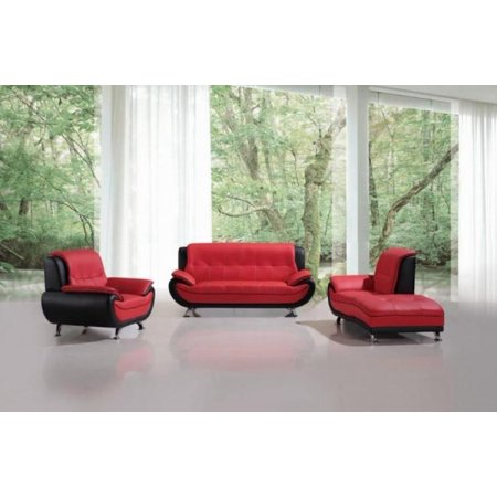 Maxwest C108-RB Modern Red/Black Leather Sofa Set with Chaise 3 Pcs