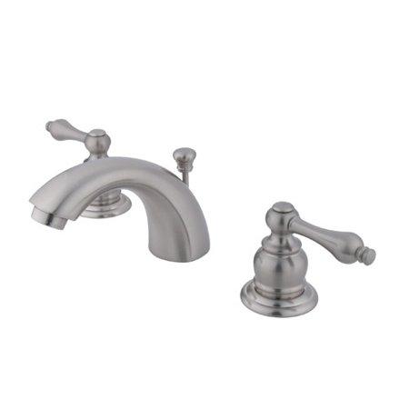 Kingston Brass Victorian Widespread Mini Bathroom Faucet with Brass Pop-Up Drain