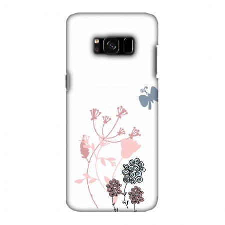 - Samsung Galaxy S8 Case - Flowers and butterfly, Hard Plastic Back Cover, Slim Profile Cute Printed Designer Snap on Case with Screen Cleaning Kit
