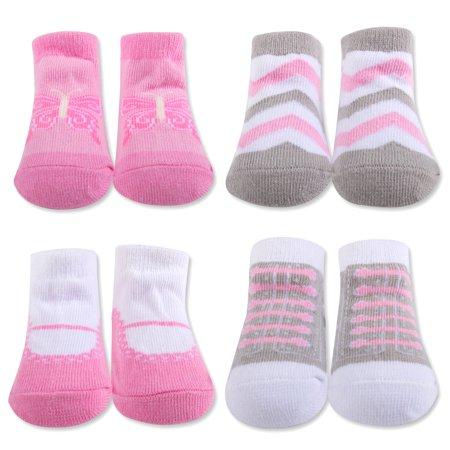 Baby Essentials Newborn Socks for Baby Shower Gift Pink Chevron Butterfly 0-6M - Best Baby Socks - Favorite Unique Newborn Cute Baby Shower Gift