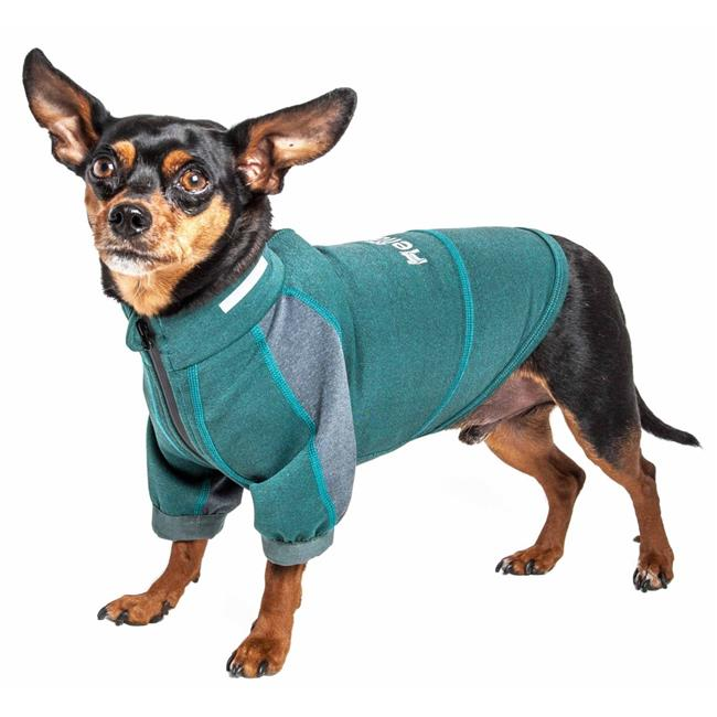 Dog Helios TSHL6GNLG Eboneflow Mediumweight 4-Way-Stretch Flexible & Breathable Performance Dog Yoga T-Shirt, Forest Green & Grey - Large - image 1 of 1