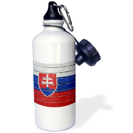 3dRose National flag of Slovakia painted onto a brick wall Slovakian, Sports Water Bottle, 21oz