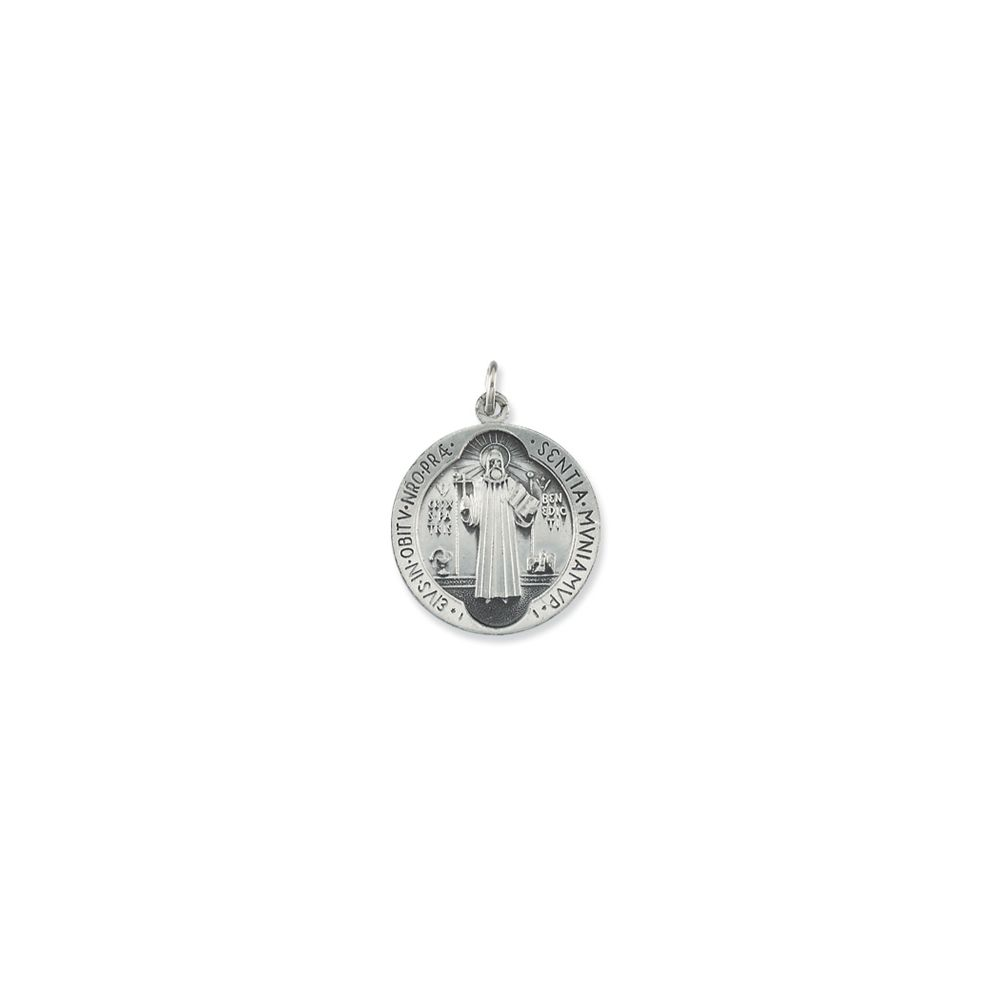 Benedict Medal Necklace Sterling Silver 18.5mm St