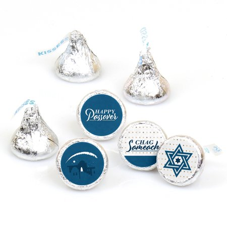 Happy Passover - Pesach Jewish Holiday Party Round Candy Sticker Favors - Labels Fit Hershey's Kisses (1 Sheet of 108)