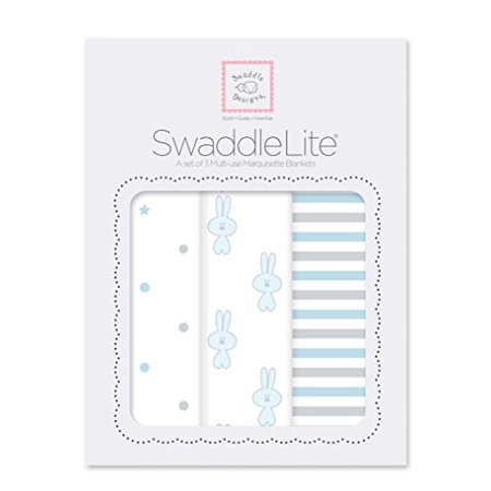 SwaddleDesigns SwaddleLite, Set of 3 Cotton Marquisette Swaddle Blankets, Premium Cotton Muslin, Pastel Blue Little Bunnie Lit - image 1 of 1