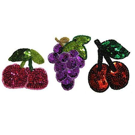 Altotux Red Cherry Purple Grapes Fruit Glass Beaded Sequin Sew on Motif Applique (Cherry with Green Stem)