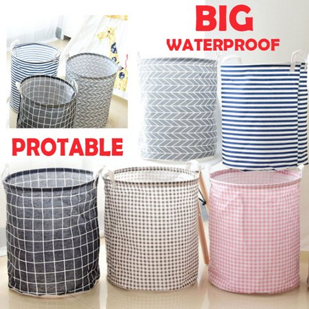 Large Laundry Basket (5 Colors), Collapsible Fabric Laundry Hamper, Foldable Clothes Bag, Folding Washing Bin ()