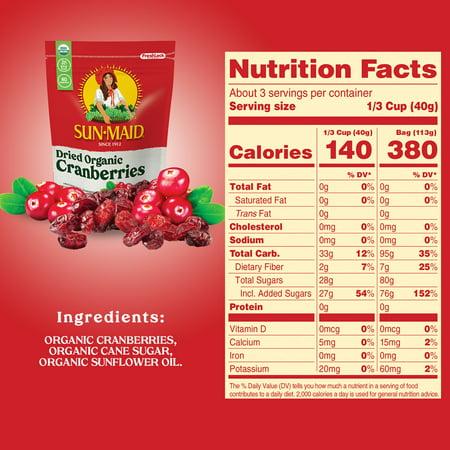 Sun-Maid Organic Dried Cranberries 4 oz Bag
