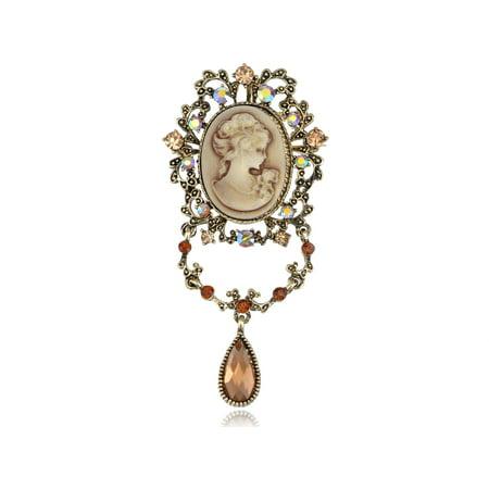 Topaz Crystal Rhinestone Flourish Flower Dangle Tear Drop Cameo Lady Pin Brooch