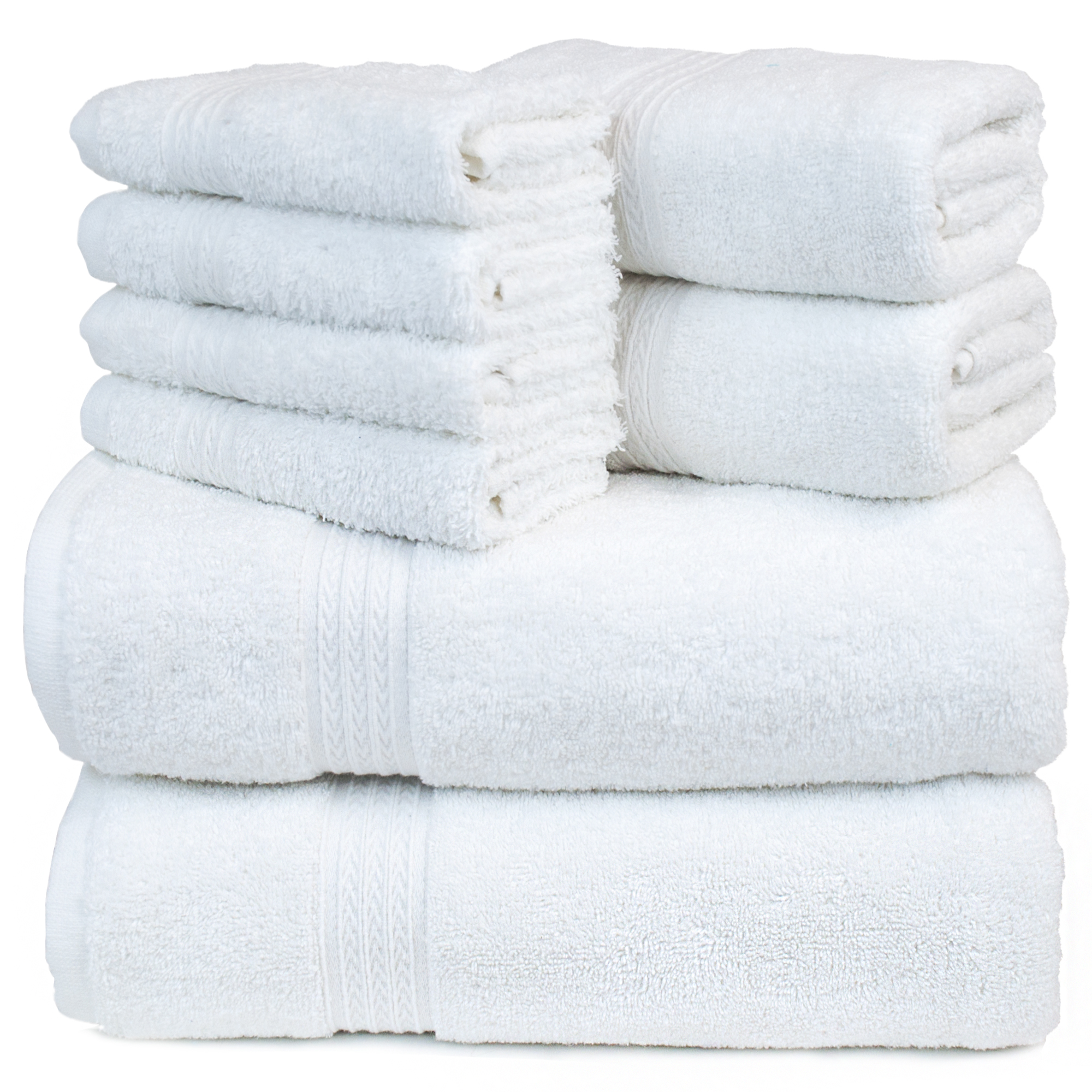 Bare Cotton Eco 4 Piece Towel Bundle - Dobby Border - Two Hand Towels - Two Washcloths
