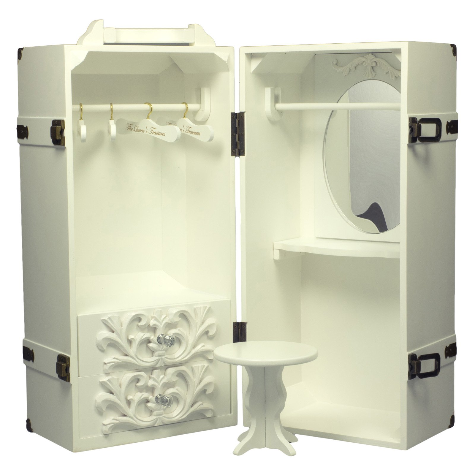 Queens Treasures 18 in. Doll Deluxe Doll Storage Trunk Armoire and Vanity
