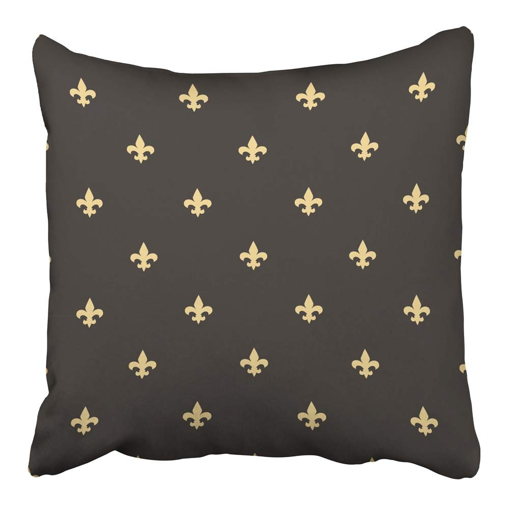 USART Abstract Black and Gold Fleur De Lis Vintage Classic Pattern Beautiful Graphic Pillowcase Cushion Cover 16x16 inch