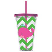 Slant Kids Whale Rizzle & Rugee Double Wall Acrylic Tumbler with Lid & Straw
