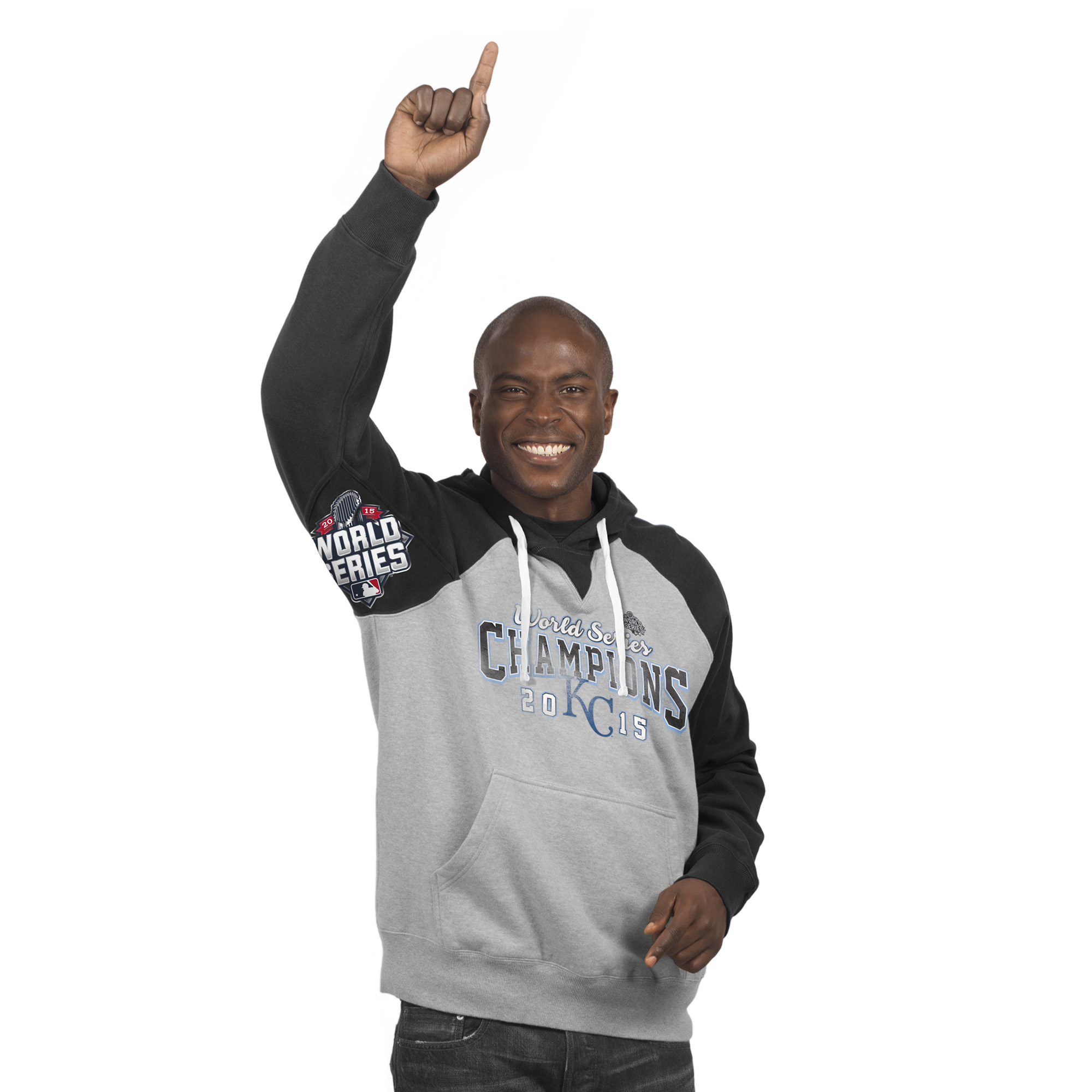 Kansas City Royals 2015 World Series Champions Hands High Sueded Fleece Pullover Hoodie - Gray