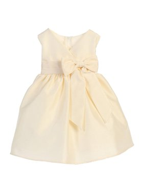 ce09fe14230 Product Image Sweet Kids Baby Girls Ivory Oversized Ribbon Accent Flower  Girl Dress 6-24M
