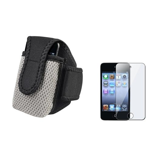 Insten Black Sportband Case + Screen Protector For iPod Touch 4 4th Gen 4G