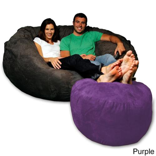 Soft Micro Suede Bean Bag Ottoman Pink Micro Suede